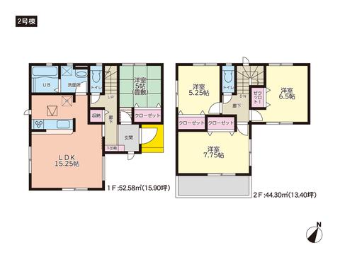 岡山県岡山市中区平井の新築 一戸建て分譲住宅の間取り図