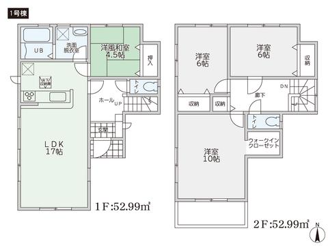 岡山県倉敷市東塚3丁目の新築 一戸建て分譲住宅の間取り図