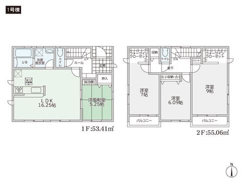 岡山県岡山市中区中井の新築 一戸建て分譲住宅の間取り図