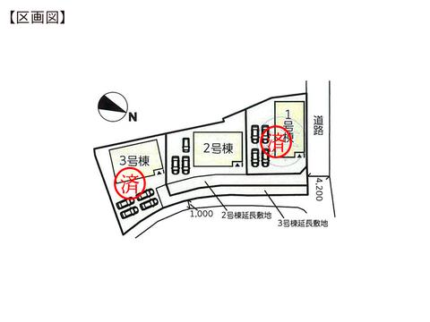 岡山県岡山市東区楢原の新築 一戸建て分譲住宅の区画図