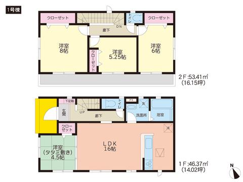 岡山県赤磐市桜が丘西4丁目の新築 一戸建て分譲住宅の間取り図