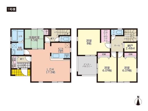 岡山県岡山市東区西大寺中の新築 一戸建て分譲住宅の間取り図