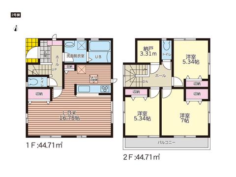 岡山市北区下伊福上町の新築 一戸建て分譲住宅の間取り図