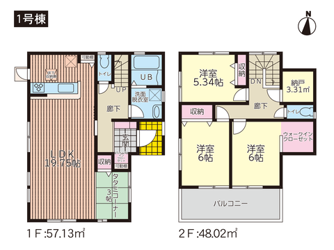 岡山市中区高屋の新築 一戸建て分譲住宅の間取り図