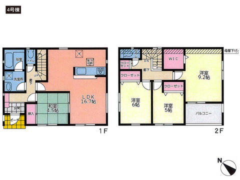 岡山県倉敷市福田町古新田の新築 一戸建て分譲住宅の間取り図