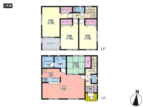 岡山県倉敷市福江の新築 一戸建て分譲住宅の間取り図