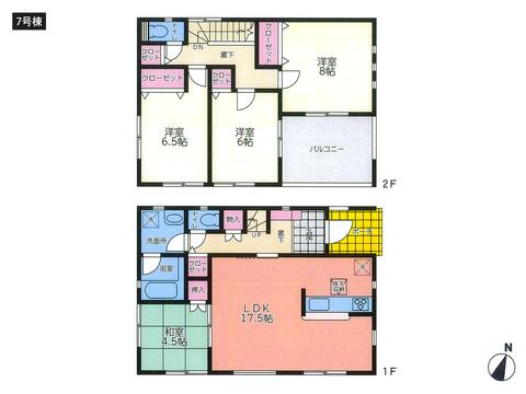 岡山県倉敷市東塚の新築 一戸建て分譲住宅の間取り図