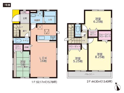 岡山県岡山市南区南輝の新築 一戸建て分譲住宅の間取り図