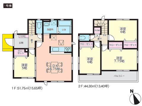 岡山県倉敷市水島北瑞穂町の新築 一戸建て分譲住宅の間取り図