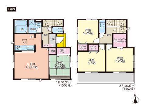 岡山県岡山市中区乙多見の新築 一戸建て分譲住宅の間取り図