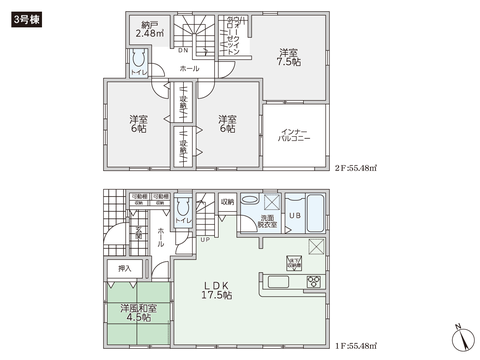 岡山県倉敷市片島町の新築 一戸建て分譲住宅の間取り図