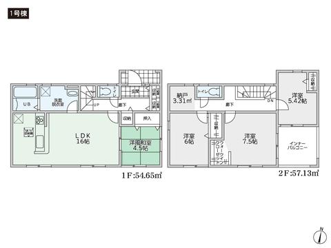 岡山県倉敷市中庄の新築 一戸建て分譲住宅の間取り図