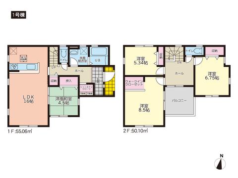 岡山市中区倉益の新築 一戸建て分譲住宅の間取り図