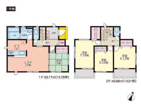 岡山県岡山市中区藤原光町の新築 一戸建て分譲住宅の間取り図