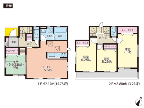 岡山県岡山市東区瀬戸町光明谷の新築 一戸建て分譲住宅の間取り図