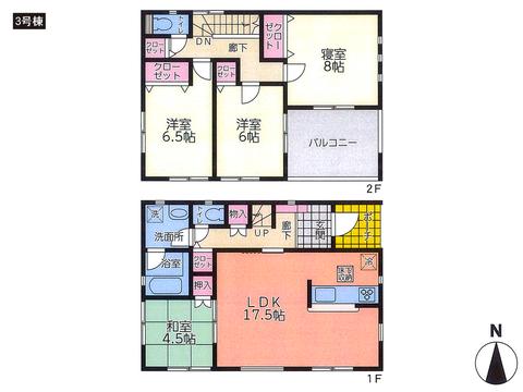 岡山県倉敷市玉島乙島の新築 一戸建て分譲住宅の間取り図