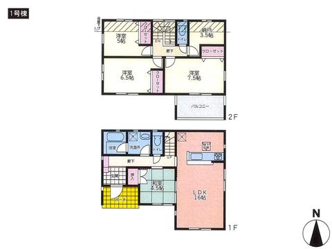 岡山県倉敷市福田町福田の新築 一戸建て分譲住宅の間取り図