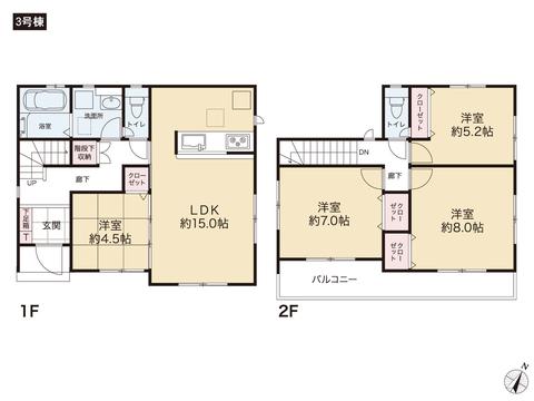 岡山県倉敷市青江の新築 一戸建て分譲住宅の間取り図