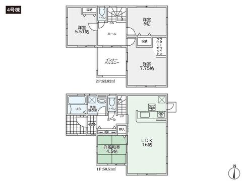 岡山県倉敷市四十瀬の新築 一戸建て分譲住宅の間取り図