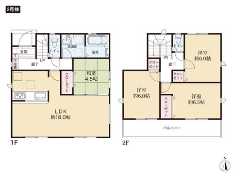 岡山県岡山市東区広谷の新築 一戸建て分譲住宅の間取り図