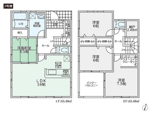 岡山県倉敷市上東の新築 一戸建て分譲住宅の間取り図