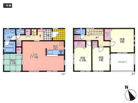 岡山県瀬戸内市長船町土師の新築 一戸建て分譲住宅の間取り図