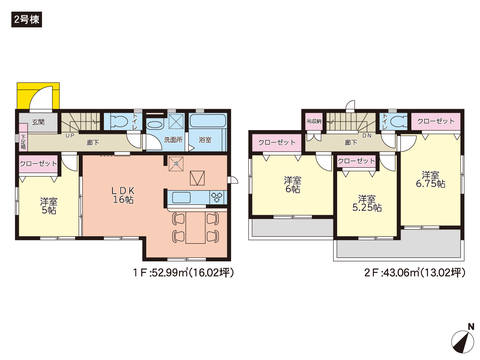 岡山県玉野市長尾の新築 一戸建て分譲住宅の間取り図