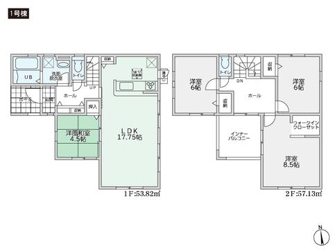 岡山県倉敷市児島味野4丁目の新築 一戸建て分譲住宅の間取り図