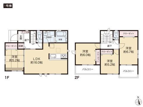 岡山県玉野市御崎2丁目の新築 一戸建て分譲住宅の間取り図