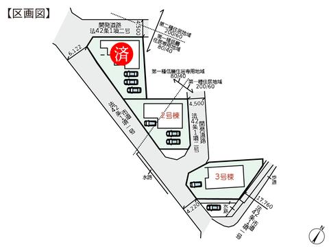 岡山県倉敷市児島赤崎1丁目の新築 一戸建て分譲住宅の区画図