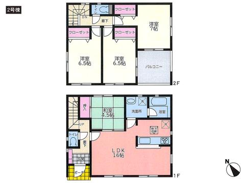 岡山県赤磐市河本の新築 一戸建て分譲住宅の間取り図