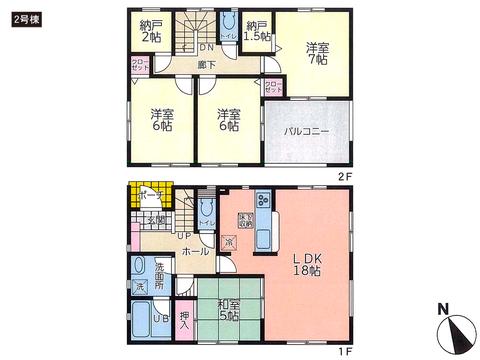 岡山県岡山市北区小山の新築 一戸建て分譲住宅の間取り図