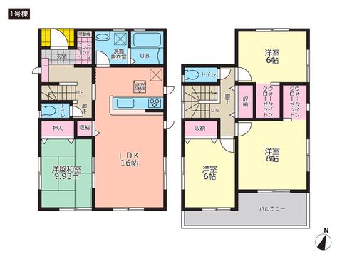 岡山県倉敷市西中新田の新築 一戸建て分譲住宅の間取り図