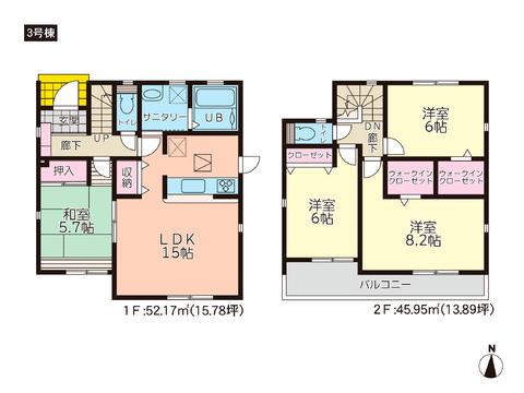 岡山県岡山市中区福泊の新築 一戸建て分譲住宅の間取り図