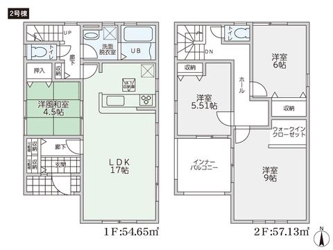岡山県岡山市中区山崎の新築 一戸建て分譲住宅の間取り図
