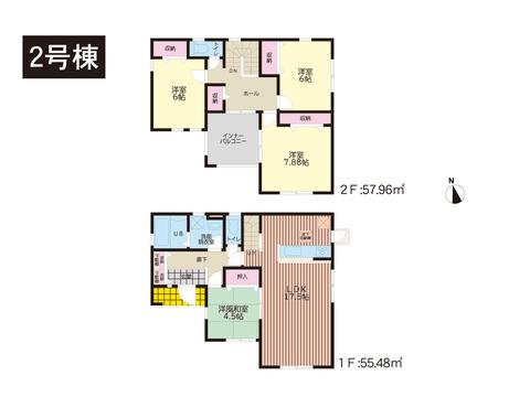 岡山市東区益野町の新築 一戸建て分譲住宅の間取り図