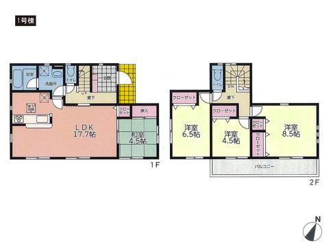 岡山県岡山市南区福富西の新築 一戸建て分譲住宅の間取り図