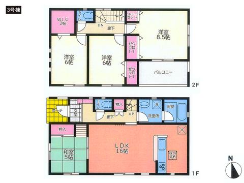 岡山県総社市真壁の新築 一戸建て分譲住宅の間取り図
