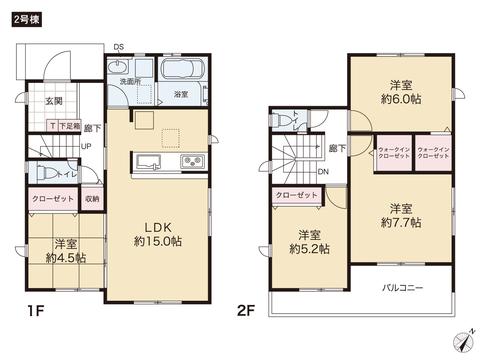 岡山県岡山市中区江並の新築 一戸建て分譲住宅の間取り図