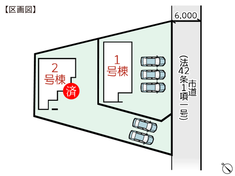 岡山県倉敷市玉島黒崎新町の新築 一戸建て分譲住宅の区画図