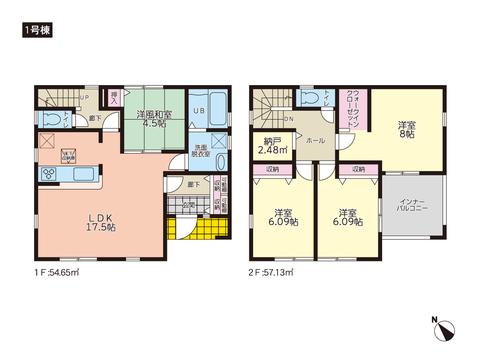 岡山市南区若葉町の新築 一戸建て分譲住宅の間取り図