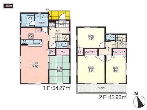 岡山県倉敷市玉島柏島の新築 一戸建て分譲住宅の間取り図