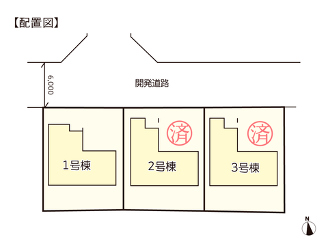 岡山県瀬戸内市邑久町豊安の新築 一戸建て分譲住宅の区画図