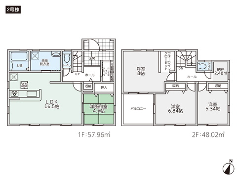 岡山県総社市地頭片山の新築 一戸建て分譲住宅の間取り図