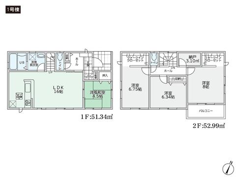 岡山県総社市小寺の新築 一戸建て分譲住宅の間取り図