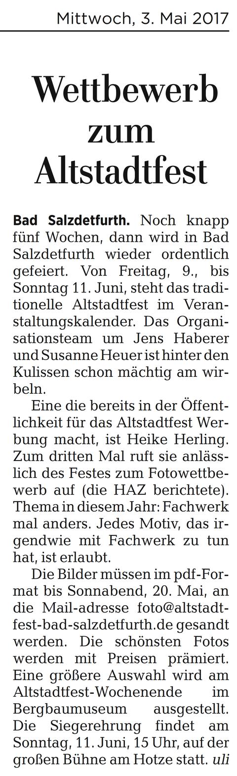 Quelle: Hildesheimer Allgemeine Zeitung vom 03.05.2017