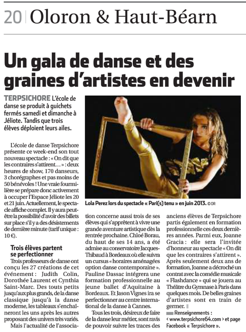"""Article de presse """"La République des Pyrénées"""" Mardi 17 Juin 2014"""