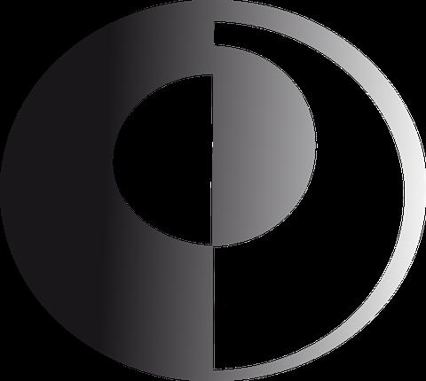 schwarz weisses Markenzeichen verkörpert ein Auge und eine Linse.