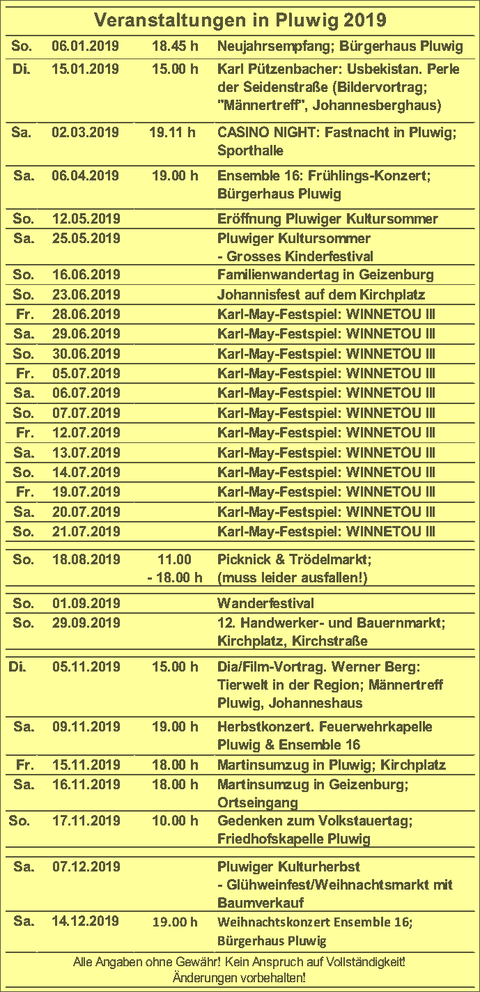 Veranstaltungskalender für Pluwig, 2019, Pluwig, Veranstaltungen 2019