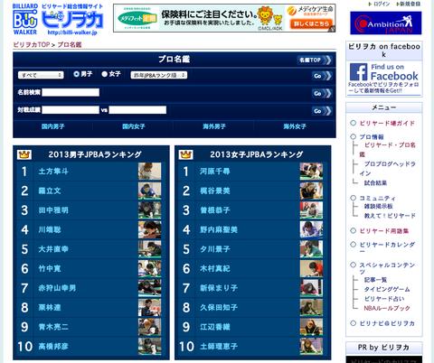 ビリヲカ・プロ名鑑のトップページ